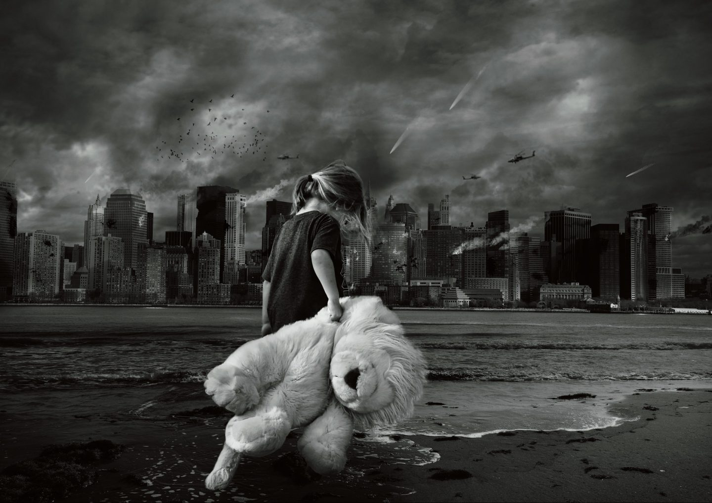 Child carrying a lion soft toy walks across a disaster zone with a city background