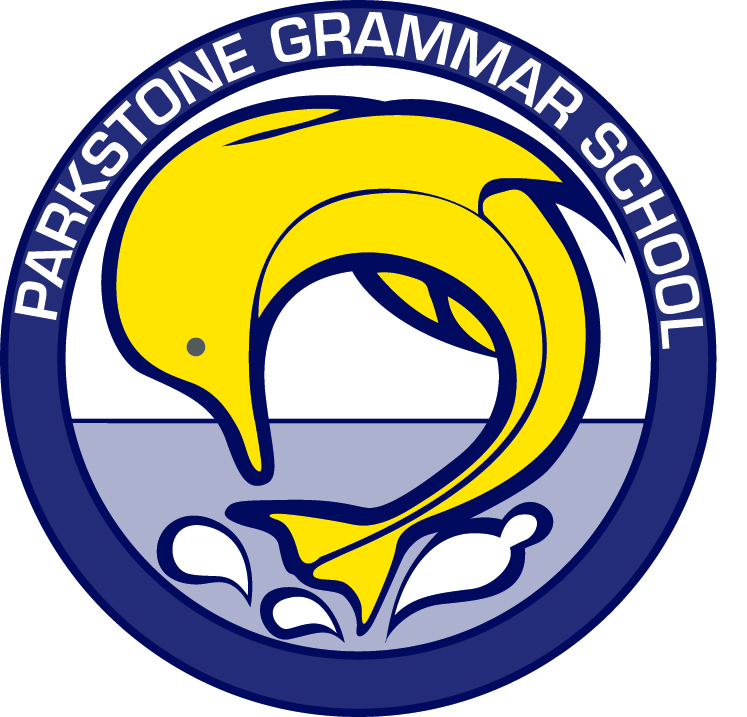 Parkstone Grammar School logo - yellow dolphin surrounded by a blue circular band and white text
