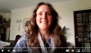 YouTube screenshot of a woman conducting a video podcast