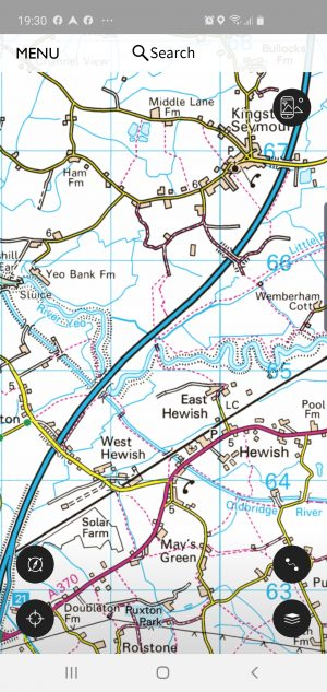 Map screen shot of an area in North Somerset.  Focus is on the wiggle of the river and the motorway cutting through.