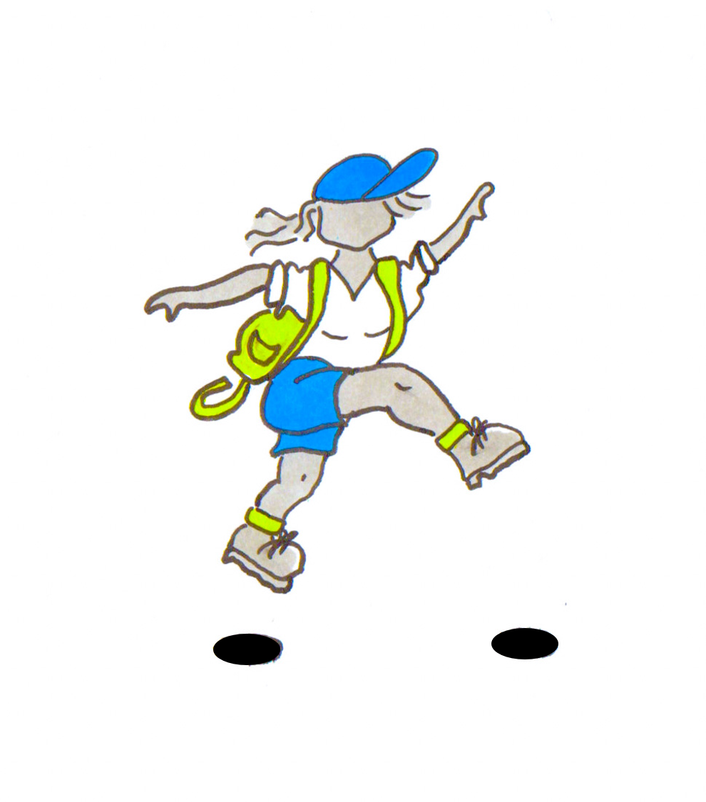 The HeadRightOut logo of a woman wearing a blue baseball cap and shorts, leaping forwards and carrying a lime green rucksack