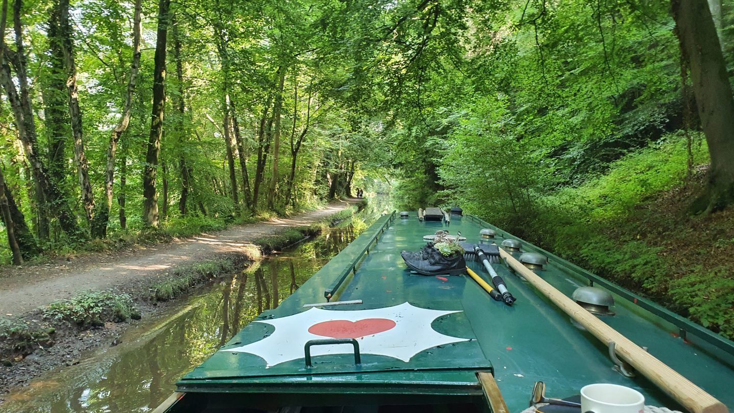 A narrowboat cruises along a tree-lined canal with a towpath to the left