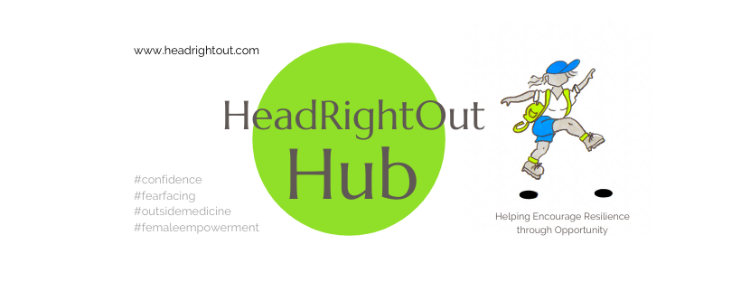 Cover page for HeadRightOut Hub, the group for women wanting to be inspired to step out of their comfort zone. A large green circle holds the text 'HeadRightOut Hub' and a cartoon style female leaps away to the right, wearing a blue baseball cap, lime green rucksack and blue shorts.