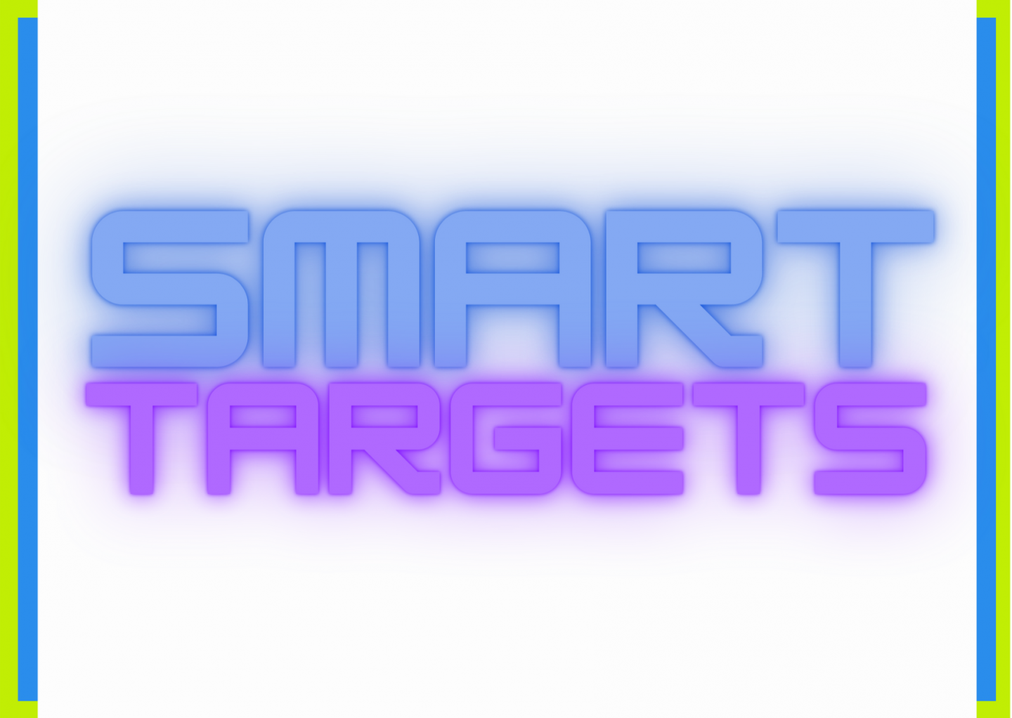A white rectangle, bordered on the left and right by two bands of lime green and sky blue. The words SMART, in diffused blue and TARGETS in diffused purple sit at the centre of the white rectangle.